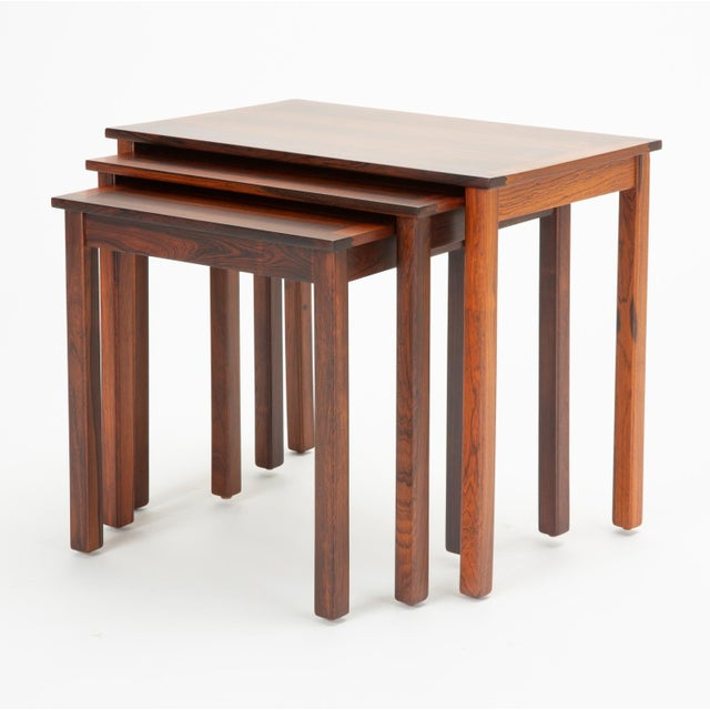 Danish Modern Rosewood Nesting Tables - Set of 3 For Sale - Image 4 of 12