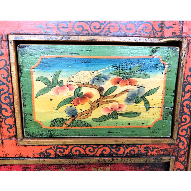 Antique Hand Painted Tibetan Chest For Sale - Image 4 of 10