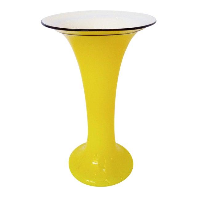 "Yellow ""Tango"" Glass Vase For Sale"