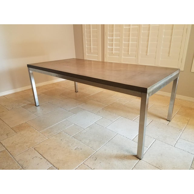 Stone Gray Modern Industrial Concrete Dining Table For Sale - Image 8 of 8