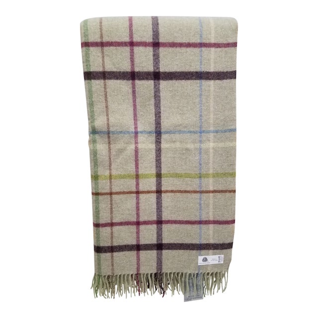 Wool Throw Multi Color Stripes on Beige Background - Made in England For Sale
