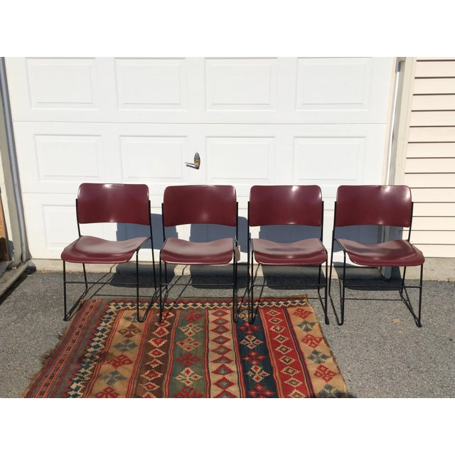 Industrial David Rowland for Rowe 40/4 Stackable Chairs- Set of 4 For Sale - Image 3 of 11
