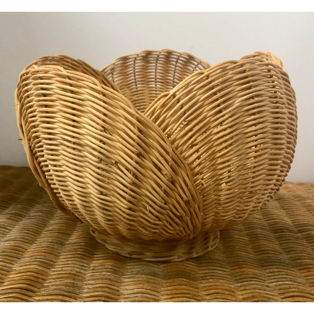 Tan Floriform Structural Natural Woven Wicker Basket Bowl For Sale - Image 8 of 10
