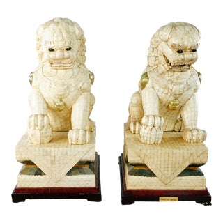 Pair of Antique Chinese Palace Size Bone Foo Dogs For Sale