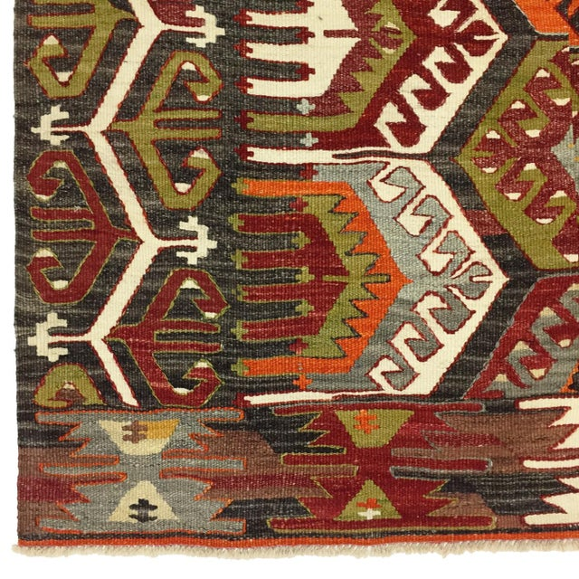 Boho Chic Semi-Antique Turkish Kilim Aydin Flatweave Rug - 7′1″ × 9′2″ For Sale - Image 3 of 5