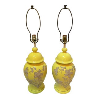 Vintage Yellow Ceramic Ginger Jar Lamps - A Pair For Sale