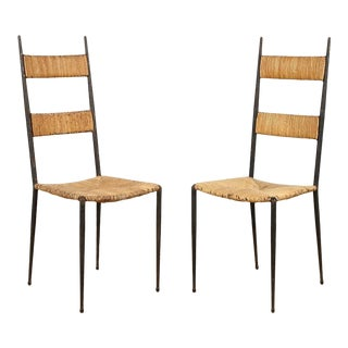 French Iron and Rush Side Chairs - a Pair For Sale