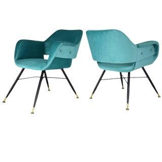 Pair of Italian Midcentury Velvet Steel Armchairs, 1950s For Sale
