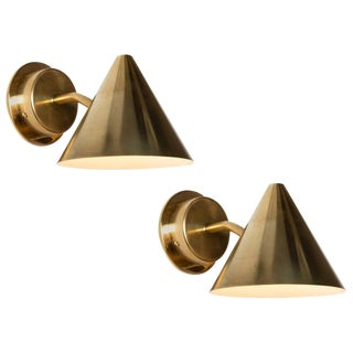 Hans-Agne Jakobsson 'Mini-Tratten' Polished Brass Outdoor Sconces - a Pair
