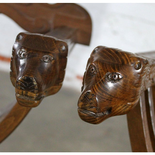 Brown Walnut Savonarola Chairs with Carved Lion Head Arms - A Pair For Sale - Image 8 of 11