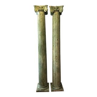 19th Century Neoclassical Green Wood Columns - a Pair