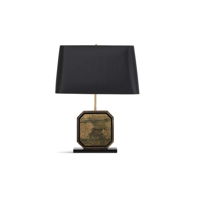 Hollywood Regency Table Lamp in 24-Karat Gold and Brass Etched Artwork by Maho For Sale - Image 10 of 10