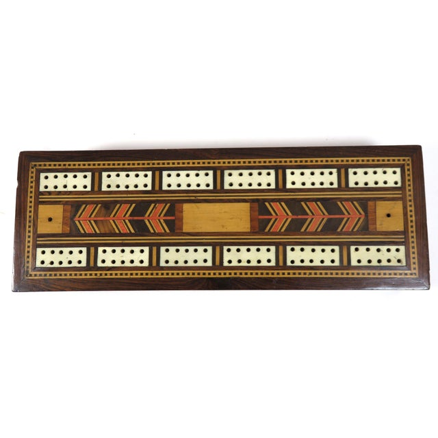 19th Century Victorian Inlay Mahogany Cribbage Board Game Box For Sale In Boston - Image 6 of 13