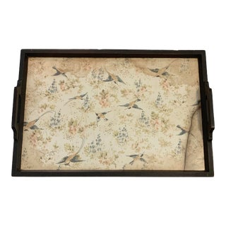 Antique Bird Fabric with Plexiglass Wooden Serving Tray For Sale