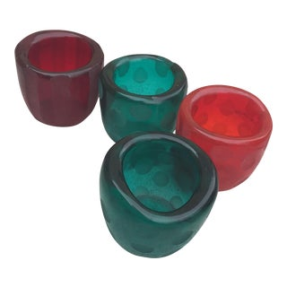 Handmade Glass Holiday Votives - Set of 4