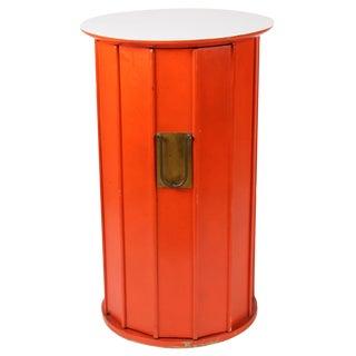 Orange Hexagonal Cabinet Side Table For Sale