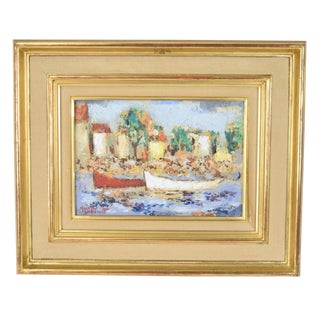"""""""Bateaux"""" French Impressionist Oil Painting For Sale"""