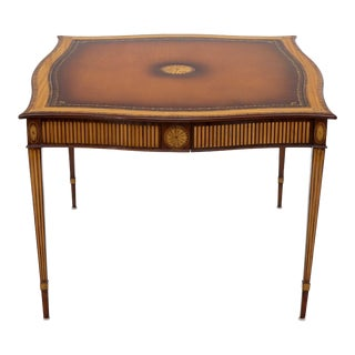 Maitland Smith Square Inlay Game Table with Four Drawers For Sale