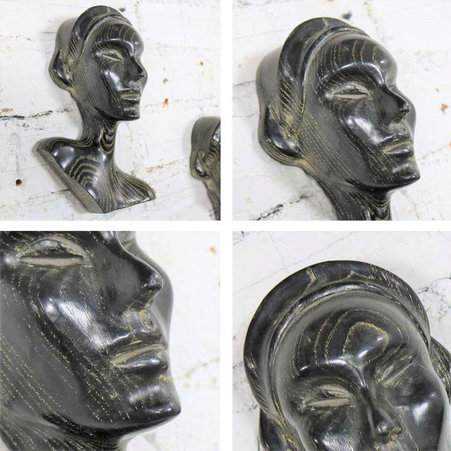 Art Deco Style Ebonized Oak Carved Female Bust Vintage Wall Sculptures, a Pair For Sale - Image 11 of 13