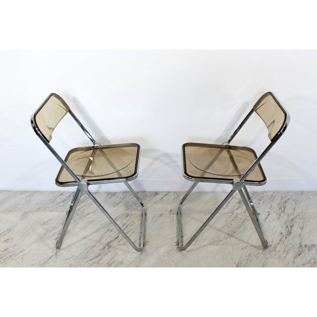 1960s 1960s Castelli Mid Century Modern Smoked Lucite Folding Chairs Italy - Set of 10 For Sale - Image 5 of 12