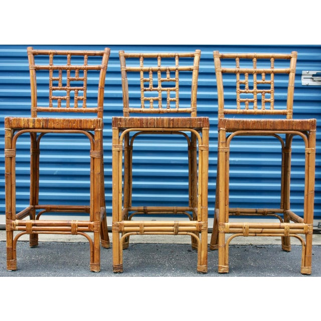 Rattan Wicker McGuire-Style Fretwork Bar Stools - Set of 3 - Image 3 of 11