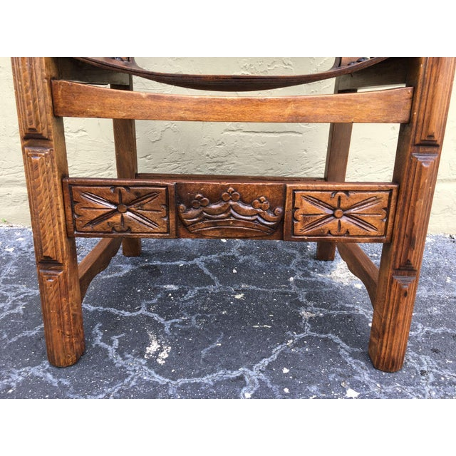 Wood Catalan, Colonial Spanish Carved Armchair With Leather, 19th Century For Sale - Image 7 of 9