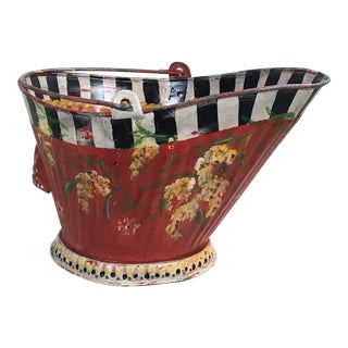 1940s Folk Art Metal Coal Scuttle Bucket For Sale