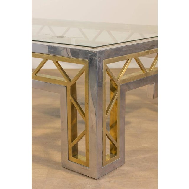 French 1970s Polished Steel and Brass Coffee Table with Glass Top - Image 7 of 8
