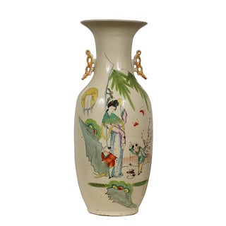 "Early 20th Century Chinese Antique Famille Rose ""Beauty and Kids"" Vase For Sale"