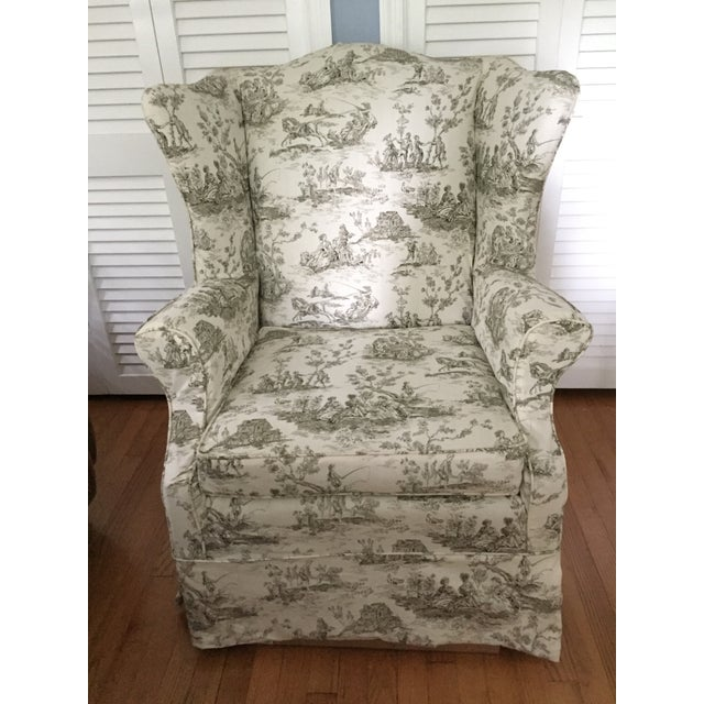 Beautiful heirloom wingback style armchair by Baker Furniture, one of the highest quality furniture manufacturers....