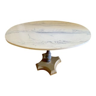 Midcentury Oval Paris Apt Marble Accent Table For Sale