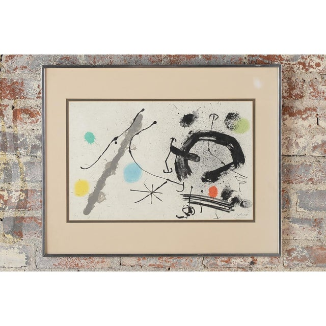 "Joan Miro (1893-1983) ""Abstract"" original color Lithograph Size 21 x 25"", Image size: 11.25'' H x 22.5'' W Sculpture Plate..."