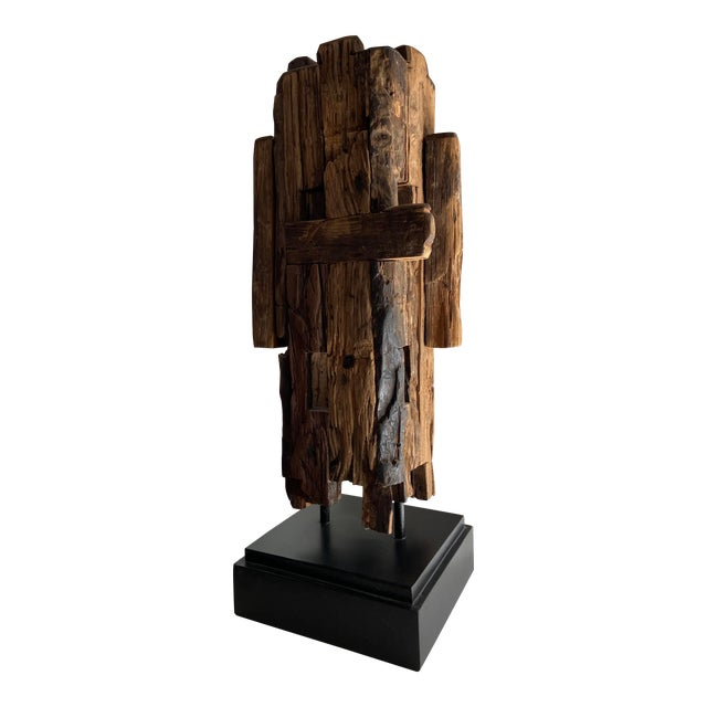 Abstract Mid-Century Style Wooden Sculpture For Sale