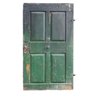 Antique Green Painted Hungarian Barn Door For Sale