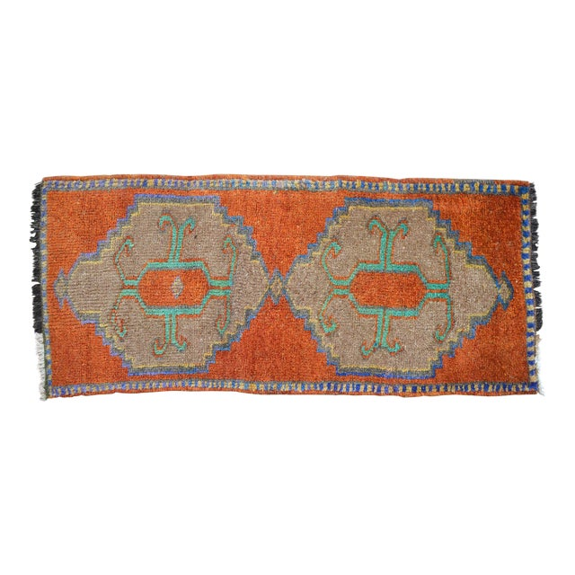 Distressed Low Pile Oushak Yastik Rug Faded Colors Vintage Petite Rug - 18'' X 41'' For Sale