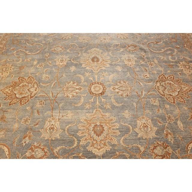 Islamic Large Antique Sky Blue Persian Kerman Carpet For Sale - Image 3 of 11