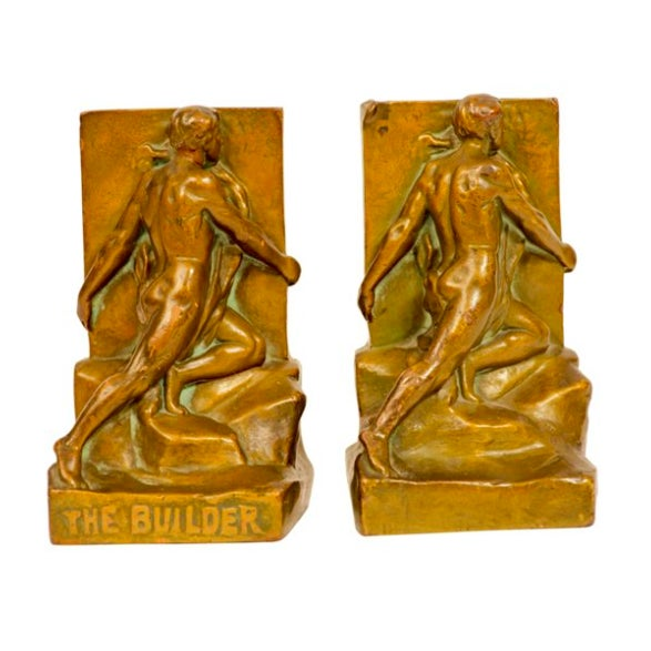 The Builder Bronze Bookends - Pair - Image 1 of 5