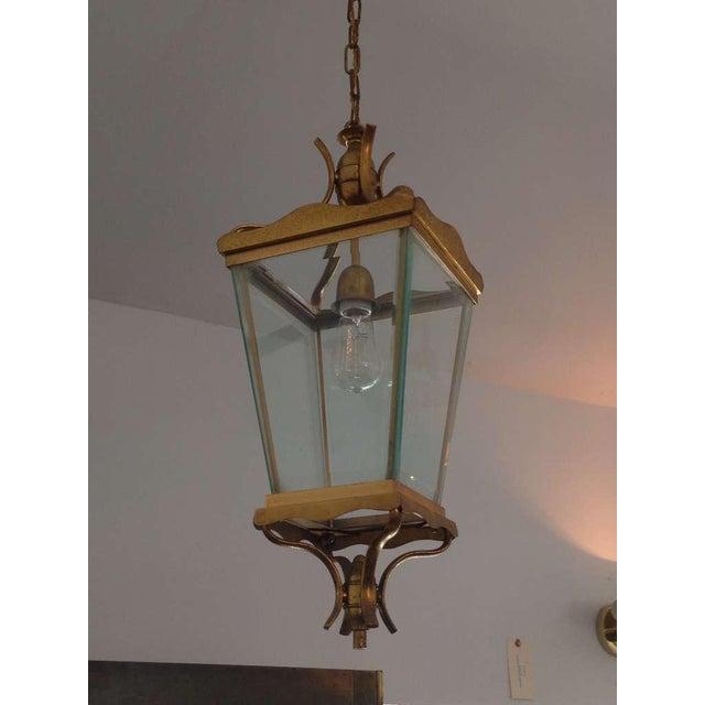 Vintage Italian Brass Lantern Hanging Light For Sale - Image 4 of 5