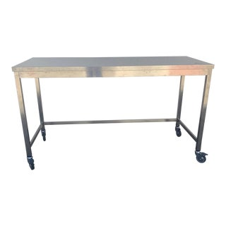 Industrial Quovis Stainless Steel Island on Wheels For Sale