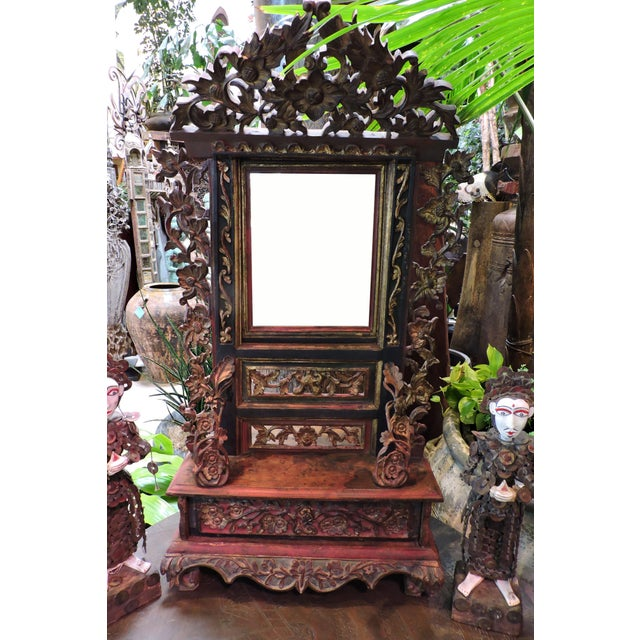 Glass Ornately Carved Vanity Mirror From Madura Island For Sale - Image 7 of 7