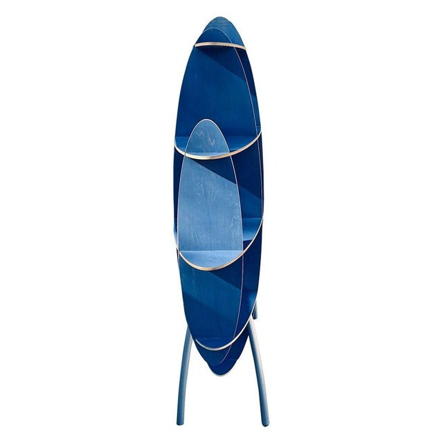 Italian Contemporary Modern Blue Standing Rack/Shelf For Sale - Image 4 of 6