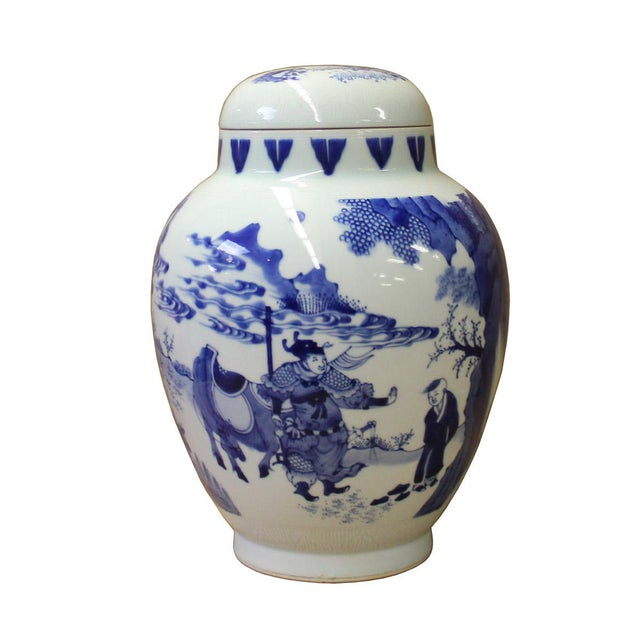 Chinese Blue White Porcelain People Theme Urn Jar Container - Image 3 of 6