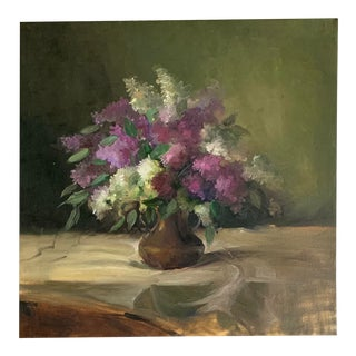 Contemporary Lilacs Still Life Oil Painting For Sale