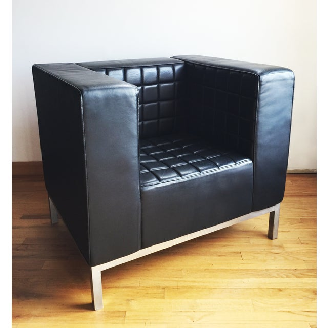 Custom Leather Tufted Club Chair - Image 4 of 8