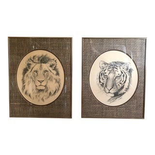 1970s Vintage Linda Picken Lion and Tiger Framed Prints - a Pair For Sale