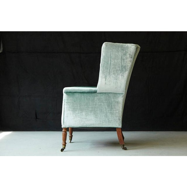 19th Century Hepplewhite Mahogany Wingback Chair in Silver Striae Velvet For Sale - Image 4 of 9