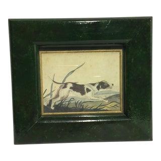 Vintage Hunter Dog Print in Painted Frame