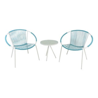 Mid-Century Modern Hoop Chairs With Side Table - Set of 3