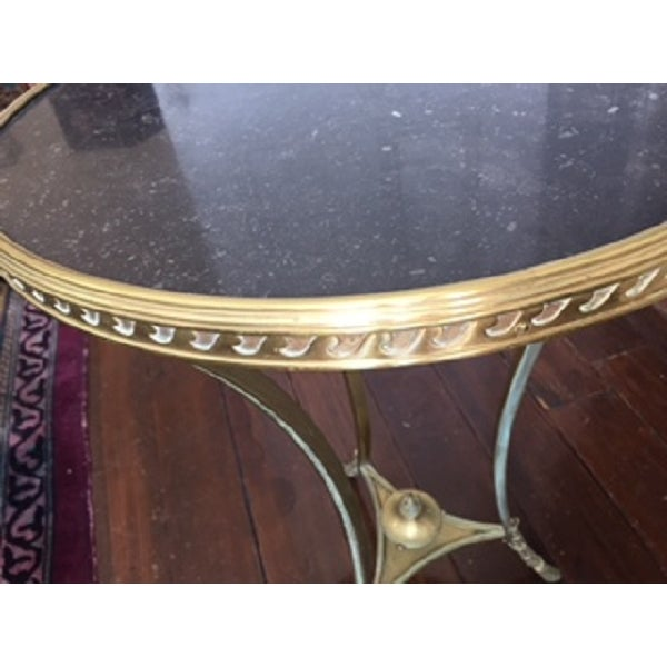 Brass & Marble Gueridon Side Table - Image 6 of 6
