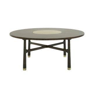 1950s Walnut Coffee Table With Brass Insert by Harvey Probber For Sale